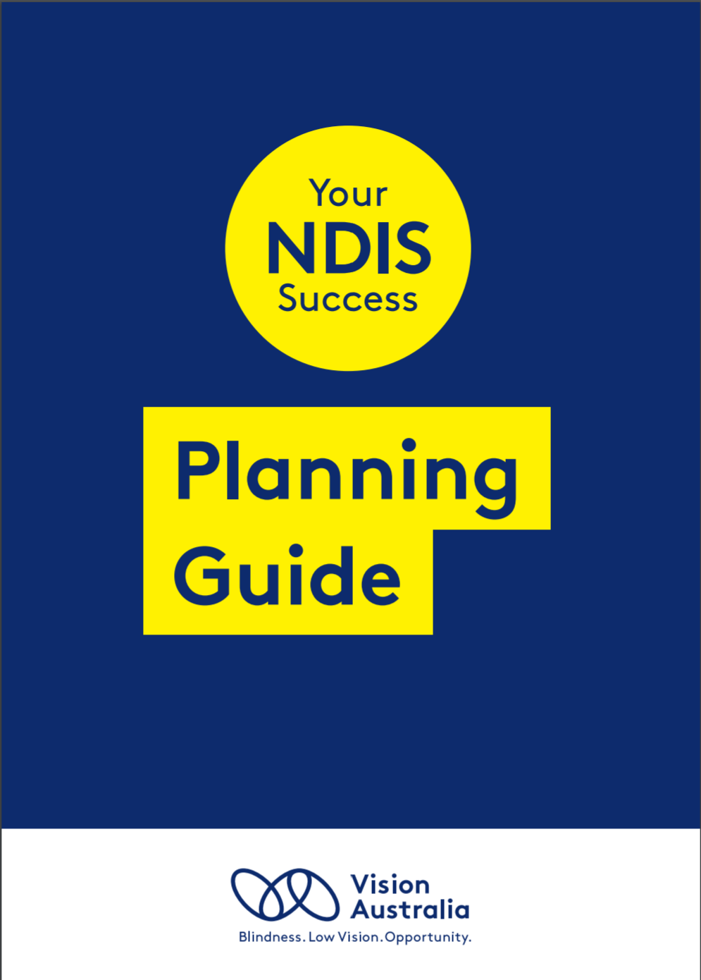Front cover of the 'Your NDIS Success: Planning Guide' booklet