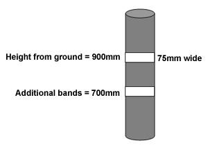 A drawing of a pole depicting where the contrasting bands should be placed