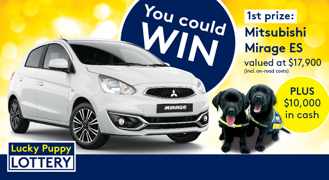 You could win 1st prize: Mitsubishi Mirage ES valued at $17,900 incl on-road costs, plus $10,000 in cash.